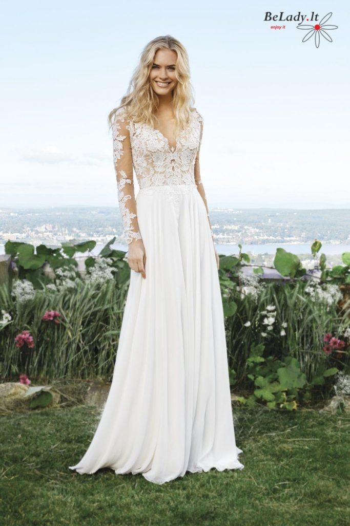 Vestuvinė suknelė ilgomis rankovėmis