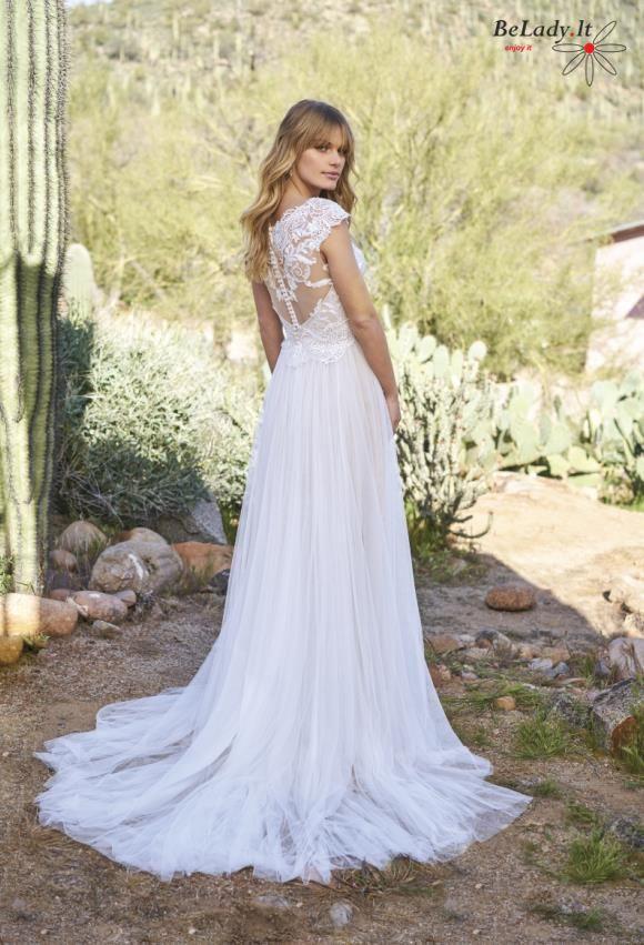 Romantiška minkšto tiulio vestuvinė suknelė