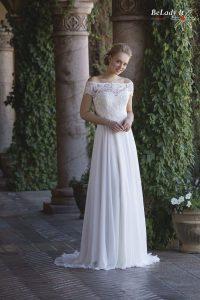 Šifoninė vestuvinė suknelė nuimamu bolero