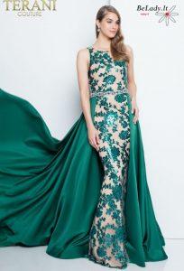 Smaragdinė proginė suknelė su šleifu 1812P5387