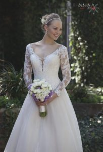 Vestuvine suknele ilgomis rankovemis 4025