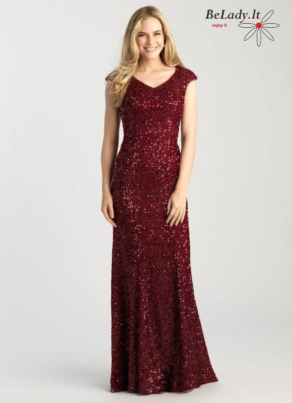 Burgundiška žvyneliais puošta proginė suknelė