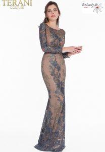Proginių suknelių nuoma suknelė ilgomis rankovėmis
