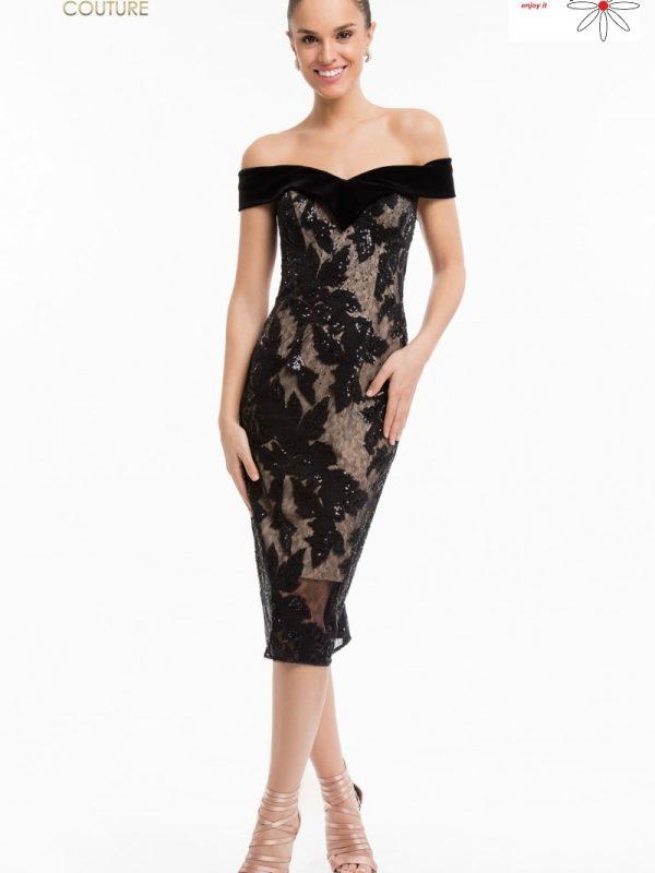 Juoda kokteilinė suknelė atidengtais pečiais sukneliu nuoma