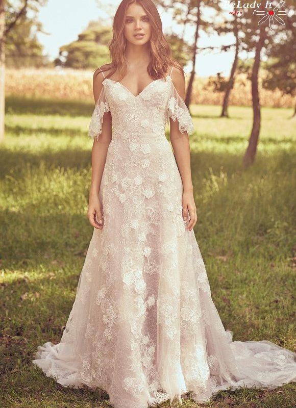 Boho stiliaus 2021 vestuvine suknele