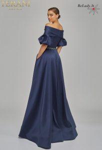 Mėlyna proginė suknelė su rankovėmis, proginių suknelių nuoma vestuvems