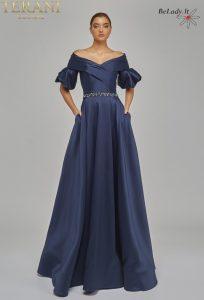 Mėlyna proginė suknelė su rankovėmis, proginių suknelių nuoma