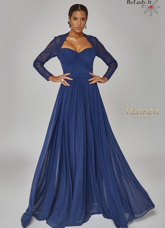 Mėlyna suknelė ilgomis rankovėmis vestuvems