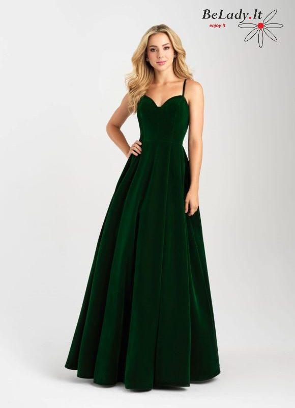 Žalia aksominė proginė suknelė