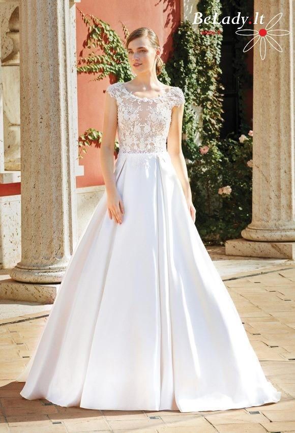 Didelio dydžio vestuvinė suknelė mikado sijonu